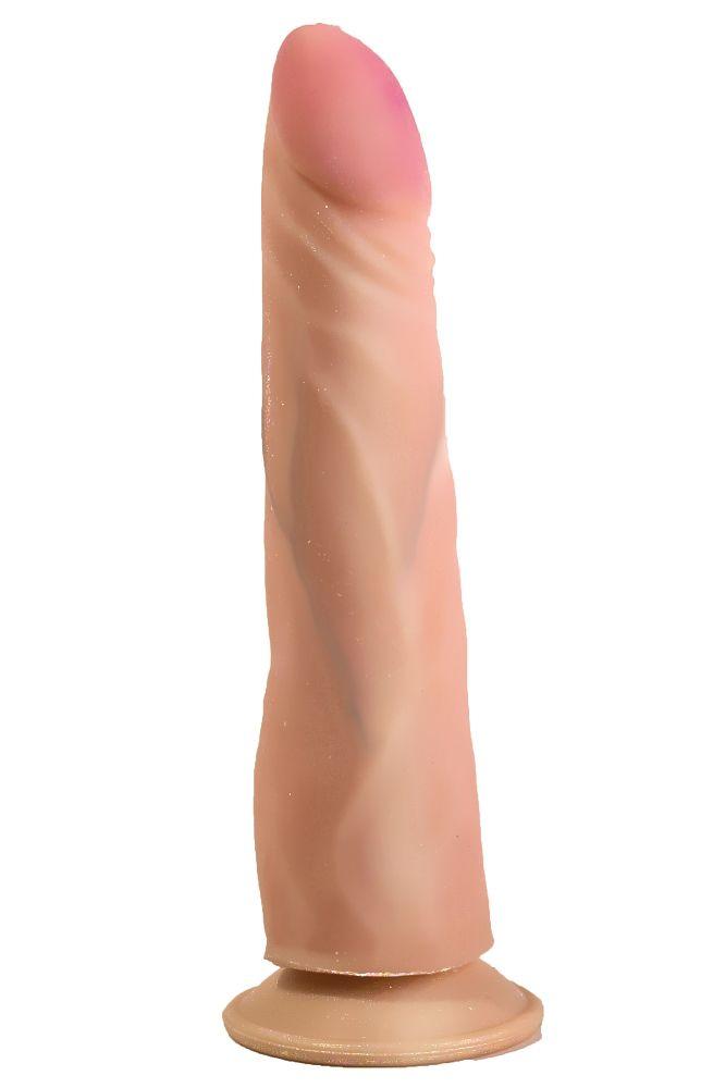 Фаллоимитатор на присоске из неоскин c розовой головкой - 20 см.