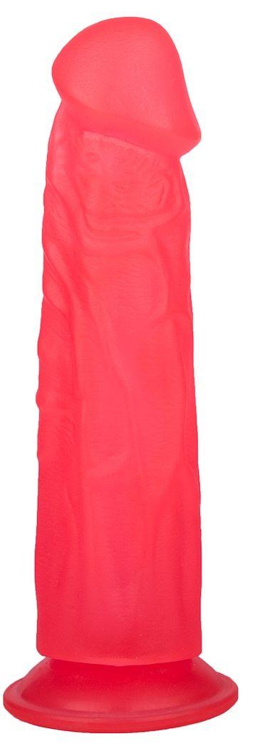Розовый фаллоимитатор с подошвой-присоской - 18,5 см.