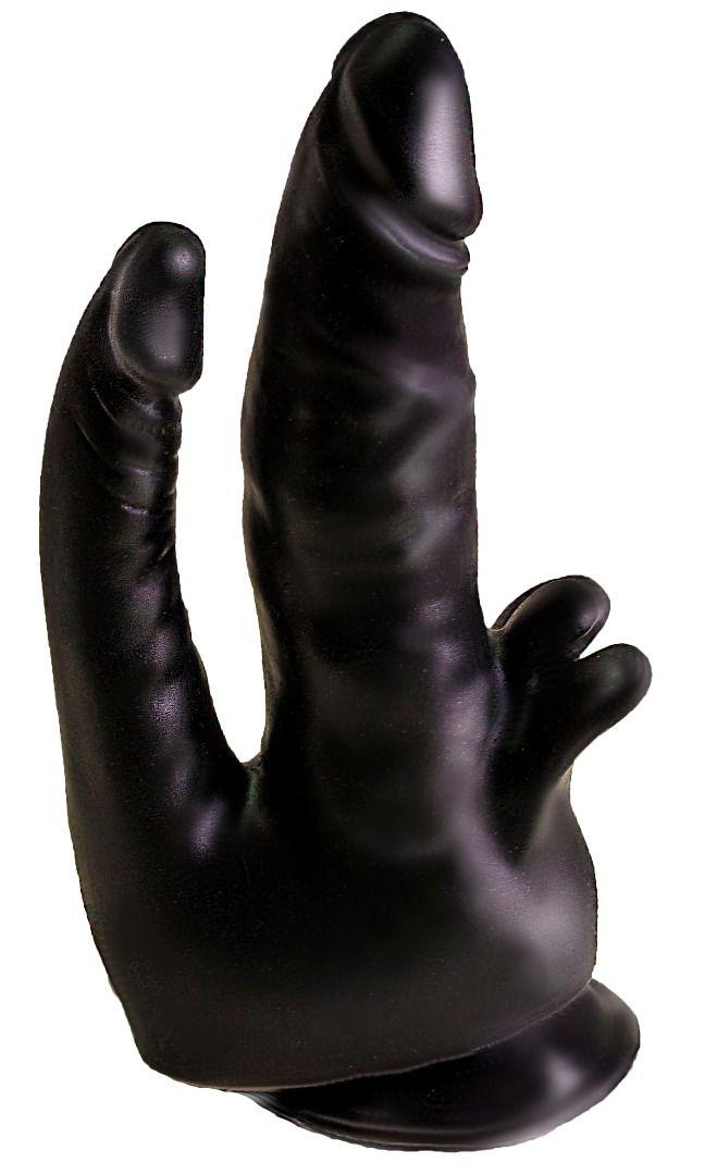 Чёрный двойной фаллоимитатор с клиторальными лепестками - 17 см. 404900 от LOVETOY (А-Полимер)