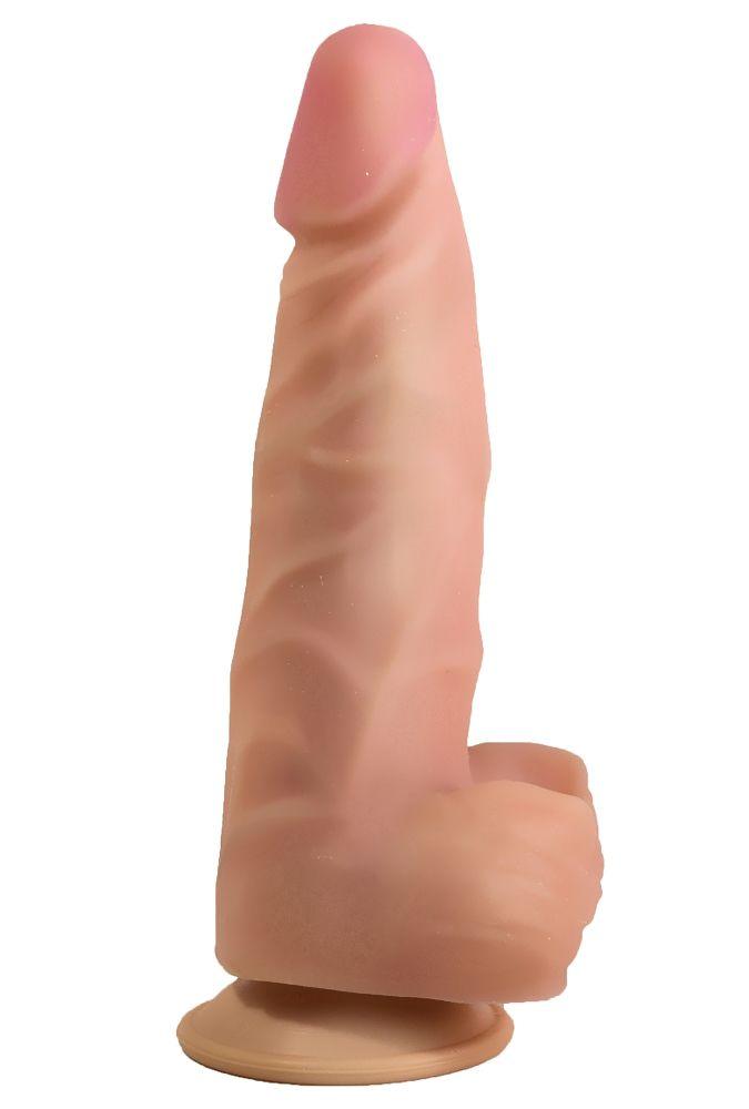 Телесный стимулятор-фаллос на присоске - 18,5 см.