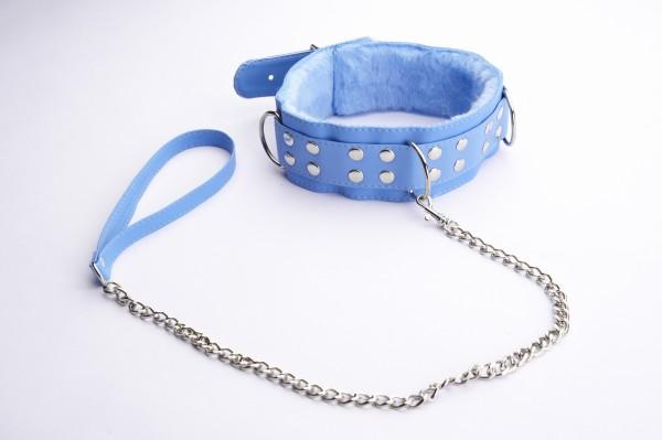 Голубой ошейник с меховой подкладкой