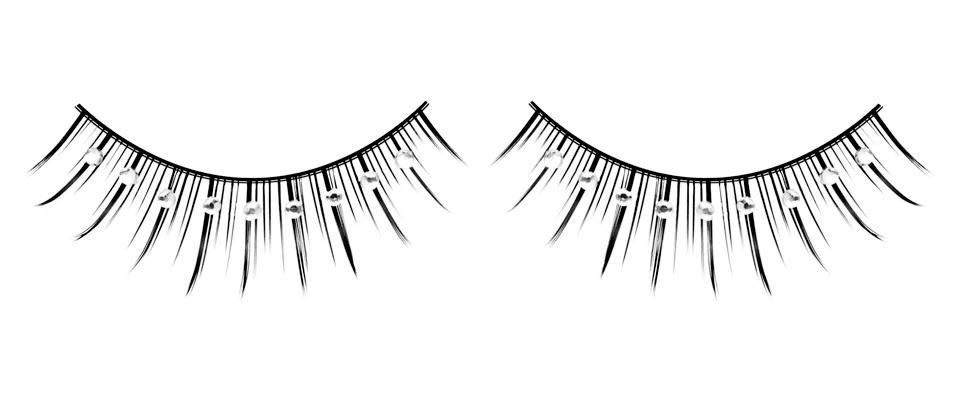 Длинные черные ресницы с серебряными стразами