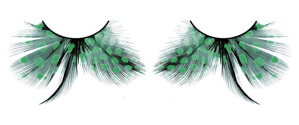 Бирюзовые ресницы-перья в горошек