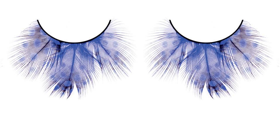 Голубые пушистые ресницы из перьев
