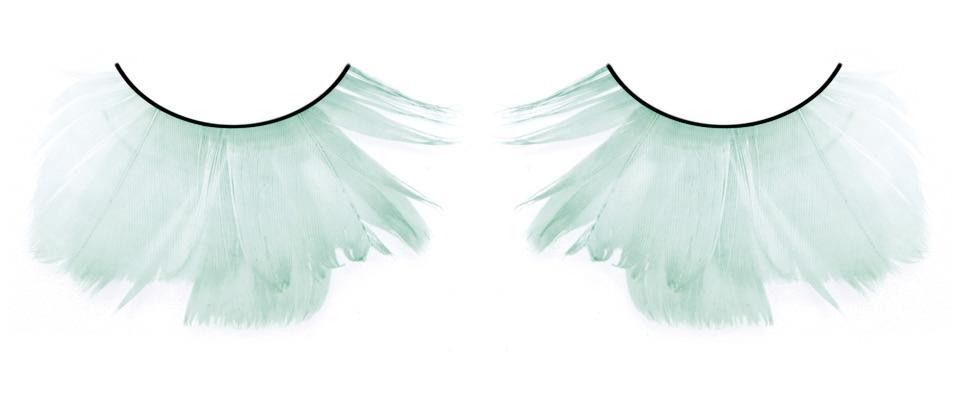 Бирюзовые пушистые ресницы из перьев
