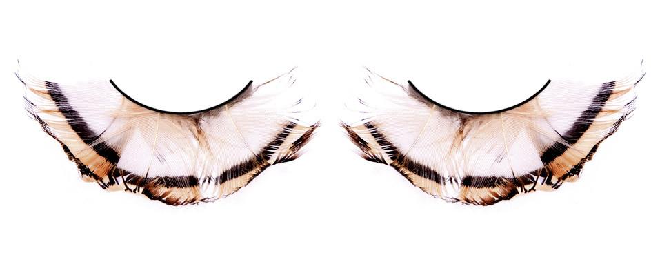 Бежево-коричневые реснички-перья