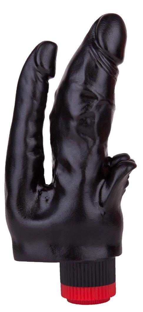 Чёрный вибромассажёр с двумя стволами и лепестками - 17 см. 414900 от LOVETOY (А-Полимер)