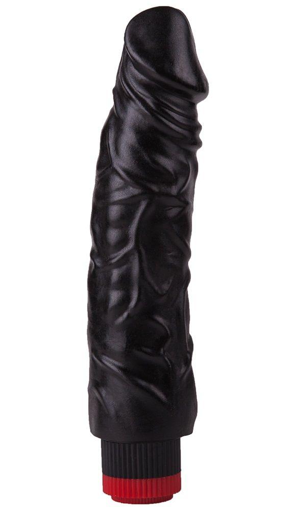 Реалистичный чёрный вибромассажер - 19,5 см.