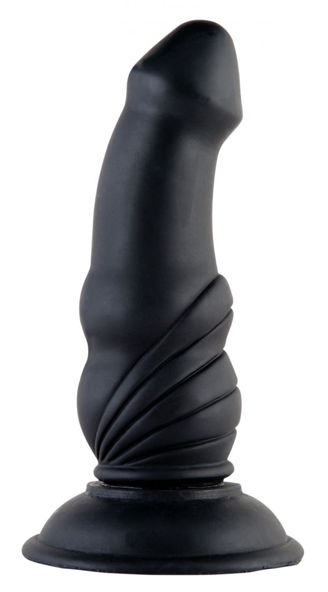 Чёрная анальная втулка-фаллос - 13,5 см.