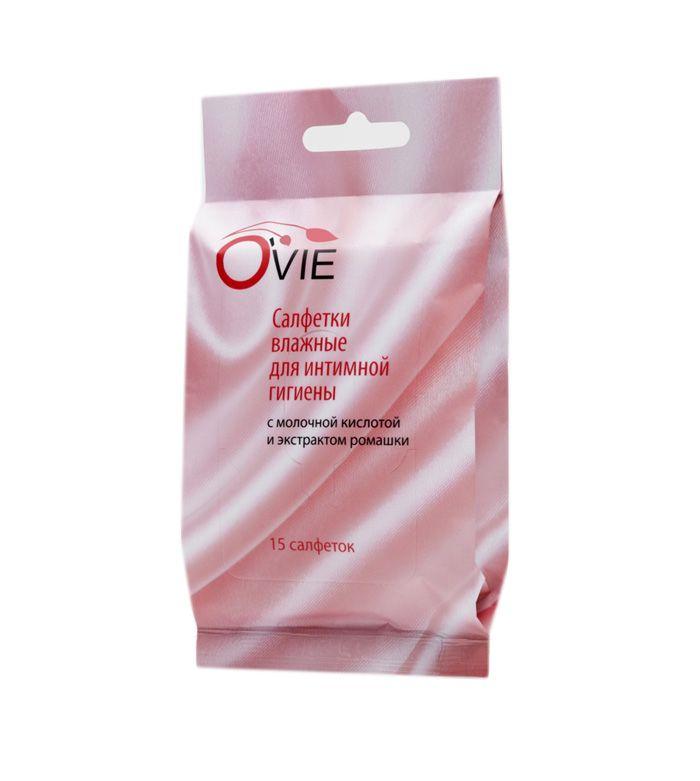 Влажные салфетки с молочной кислотой Ovie для интимной гигиены - 15 шт.