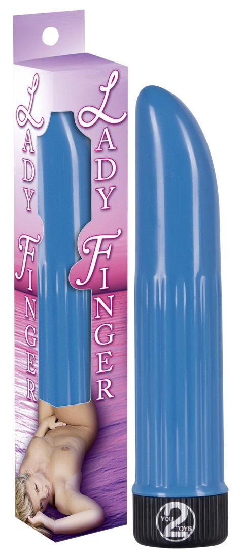 Голубой вибратор  Дамский пальчик  - 13 см.