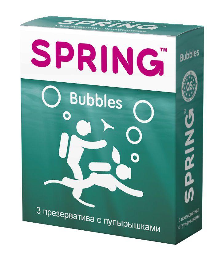 Презервативы SPRING BUBBLES с пупырышками - 3 шт. SPRING BUBBLES №3 от SPRING