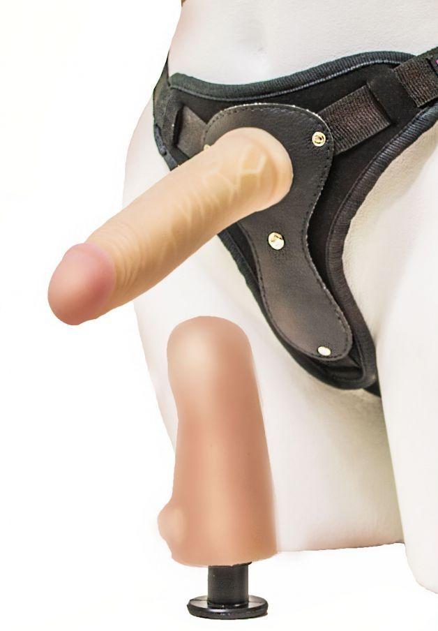 Телесный страпон Harness LESBI с вагинальной пробкой