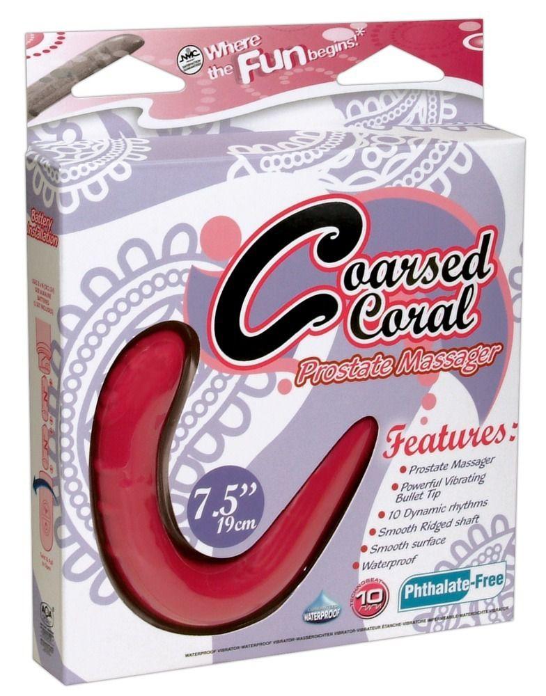 Ярко-розовый вибромассажёр простаты Coarsed Coral Prostate Massager