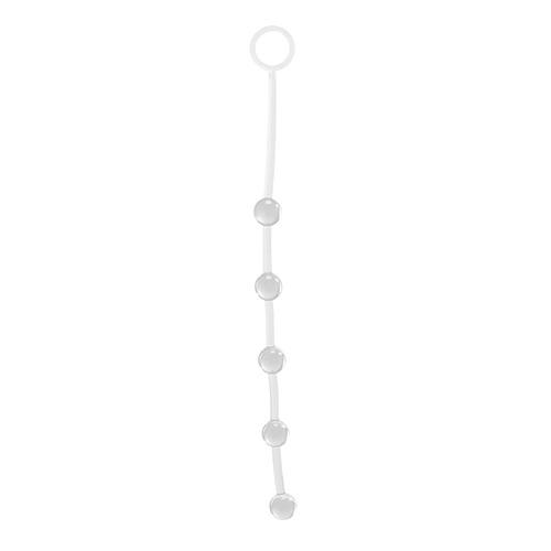 Прозрачная анальная цепочка с 5 шариками JAMMY JELLY ANAL 5 BEADS CRYSTALL - 38 см.