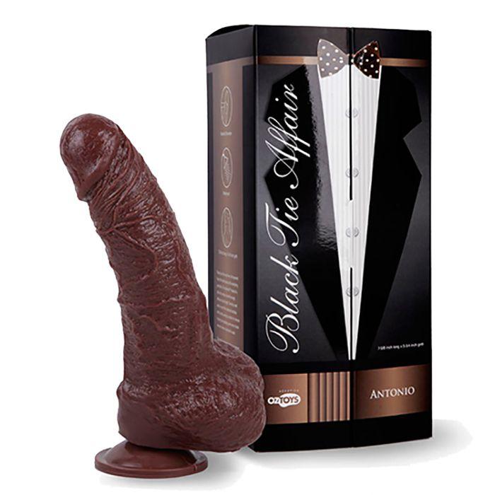 Коричневый фаллоимитатор Skinsation Black Tie Affaire Antonio - 18 см.