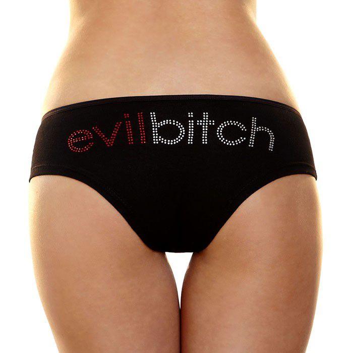 Трусики-слип с надписью стразами Evil bitch - фото 142980