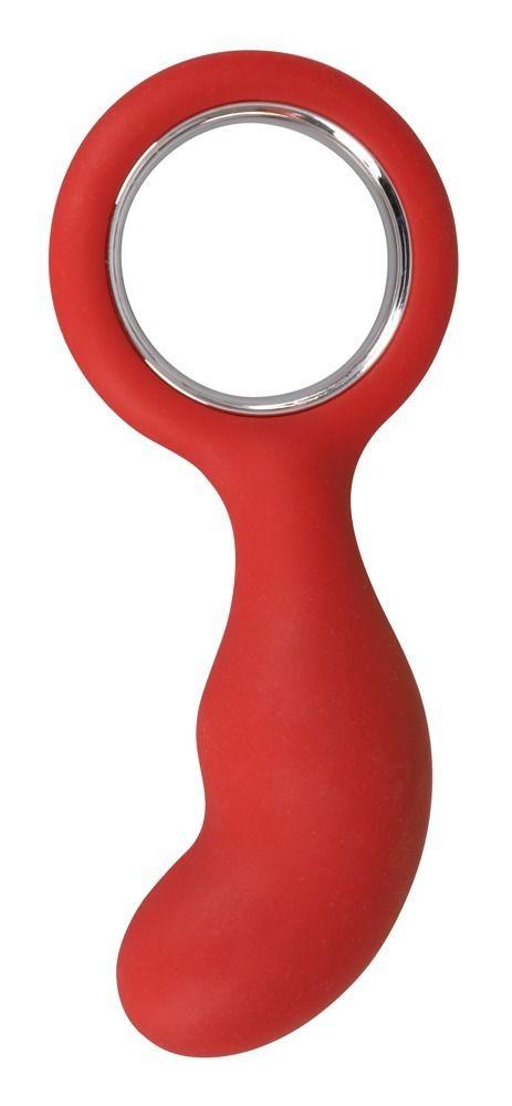 Красный анальный стимулятор с ручкой-кольцом - 13,5 см.