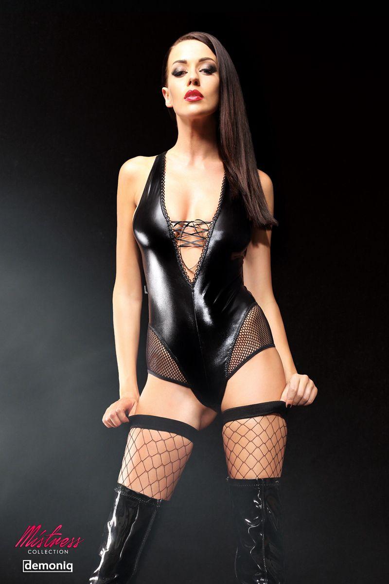 Эффектное боди Claudia со шнуровкой на груди и сетчатыми вставками