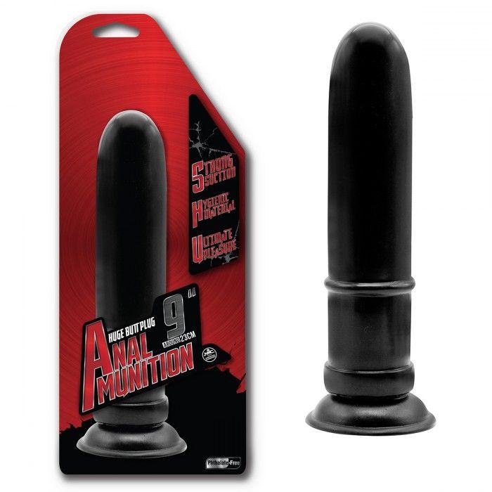 Чёрный гладкий анальный фаллоимитатор - 22,8 см.