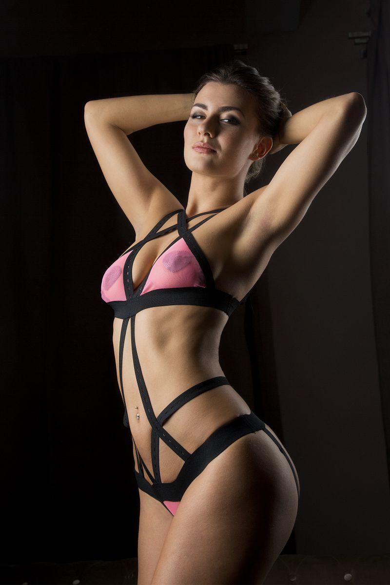 Боди  Розовая кокетка  с полупрозрачным лифом