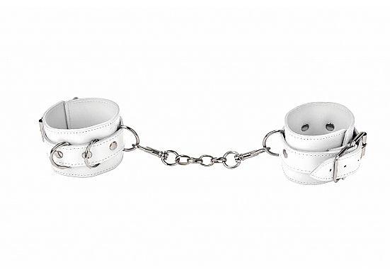 Белые наручники из кожи с заклёпками