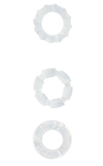 Набор из 3 прозрачных эрекционных колец MENZSTUFF STRETCHY COCK RINGS