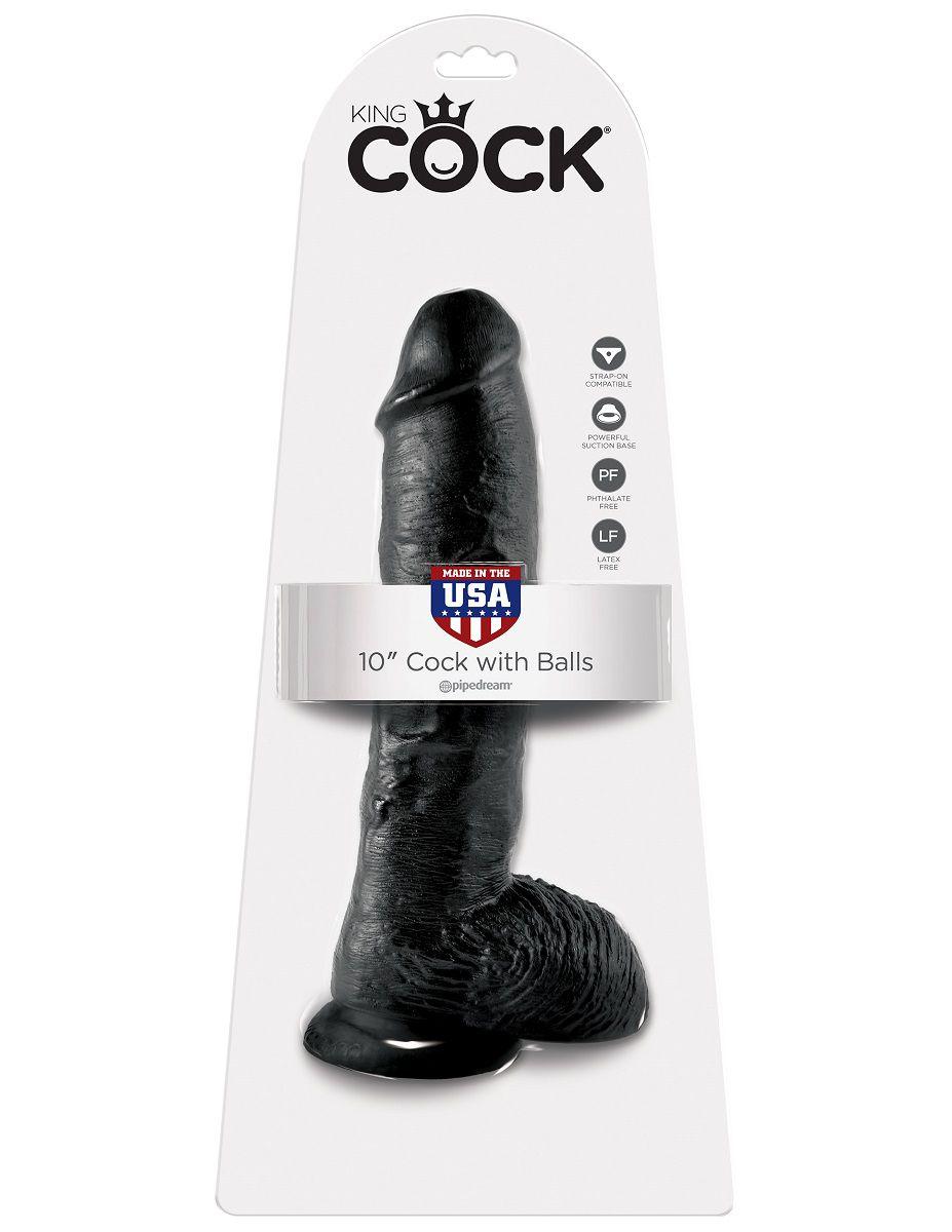 Реалистичный чёрный фаллоимитатор-гигант 10  Cock with Balls - 25,4 см.