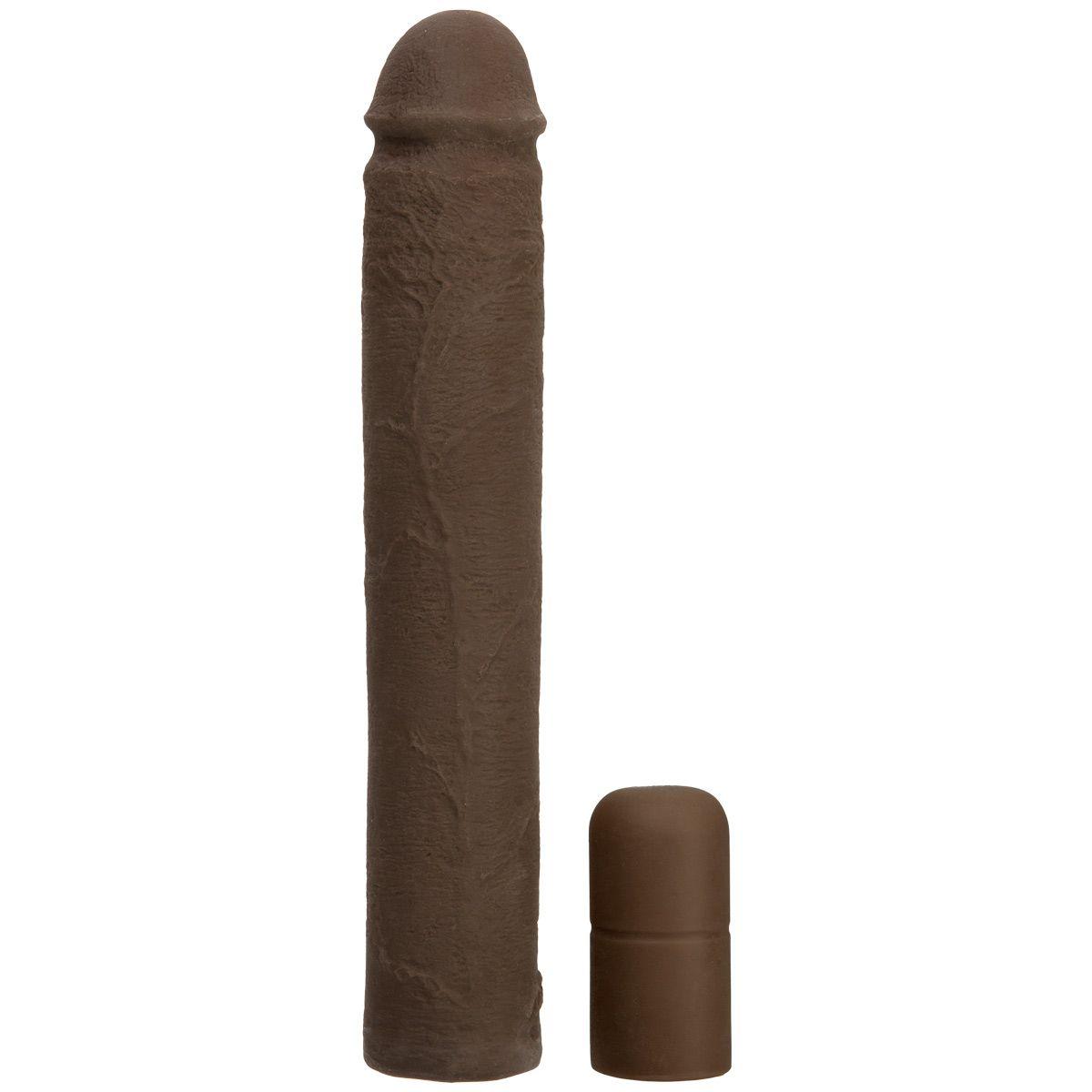 Коричневая увеличивающая насадка на пенис - 22,8 см.