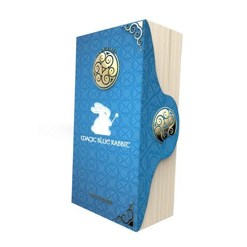 Голубой вибратор с рельефом и клиторальным зайчиком MAGIC TALES BLUE RABBIT - 24 см.