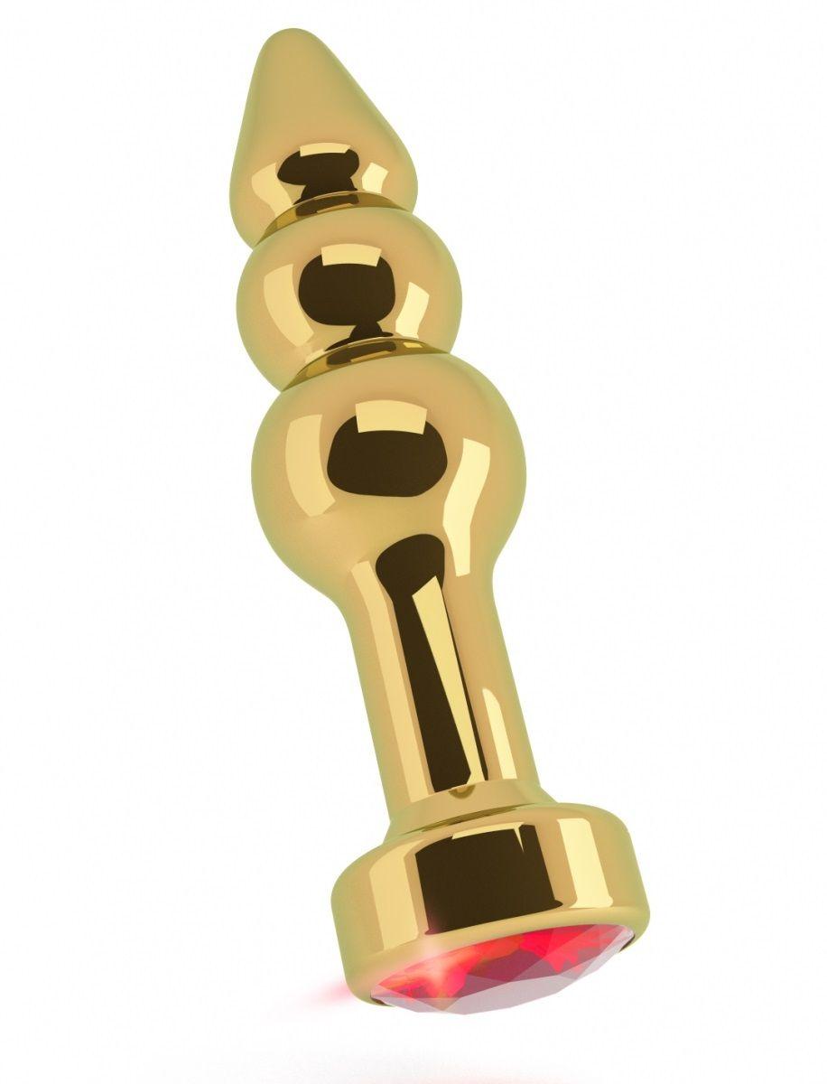 Золотистая анальная пробка-ёлочка с красным кристаллом - 11,5 см. RIC007GLD от Shots Media BV