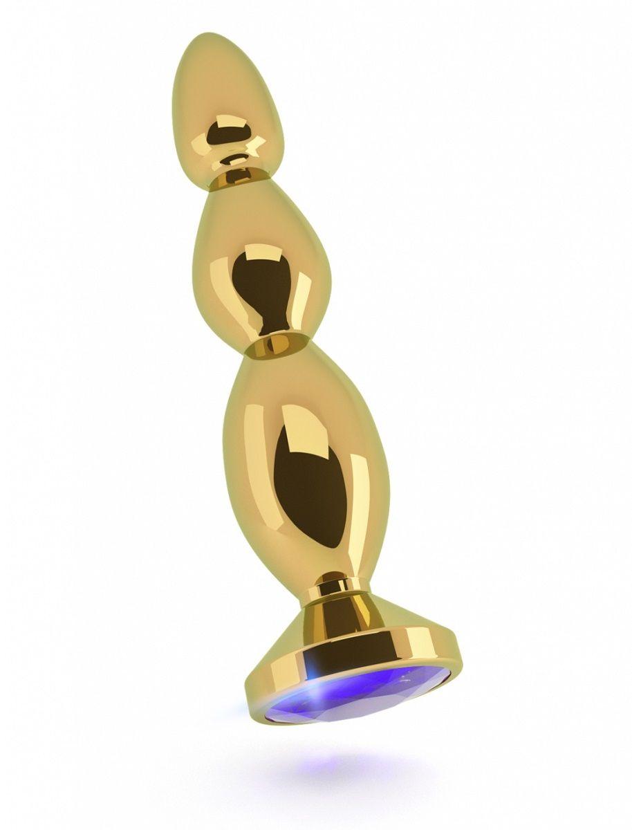 Золотистая анальная пробка-ёлочка с фиолетовым кристаллом - 14 см. RIC003GLD от Shots Media BV