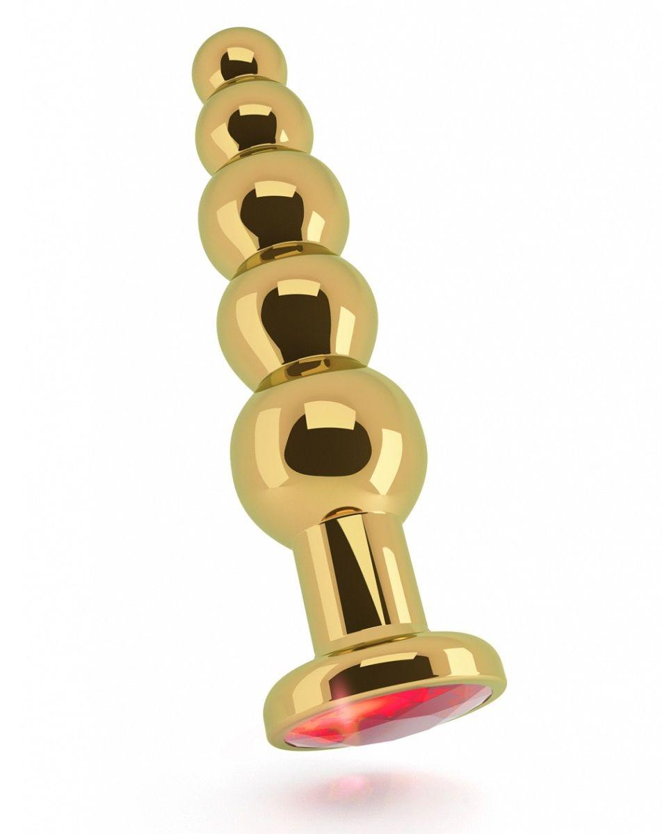Золотистая анальная ёлочка с красным кристаллом - 14,5 см. RIC005GLD от Shots Media BV