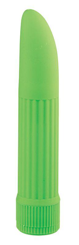 Классический зелёный вибратор BASICX MULTISPEED VIBRATOR GREEN 5INCH - 13 см.