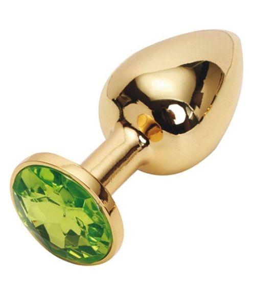 Золотистая металлическая анальная пробка с зеленым стразом - 7,6 см.