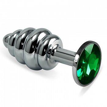 Фигурная анальная пробка с зеленым стразом - 7,6 см.