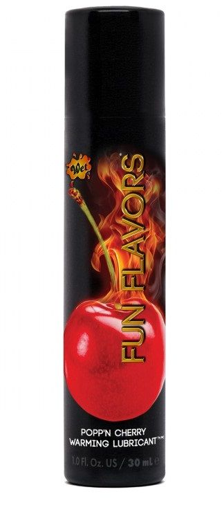 Разогревающий лубрикант Fun Flavors 4-in-1 Popp n Cherry с ароматом вишни - 30 мл.