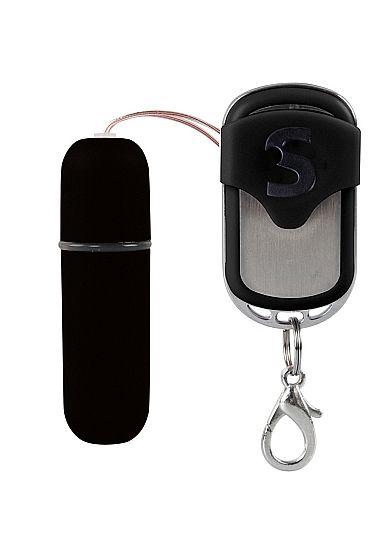 Черная вибропуля  Remote Vibrating Bullet с пультом ДУ SHT078BLK от Shots Media BV