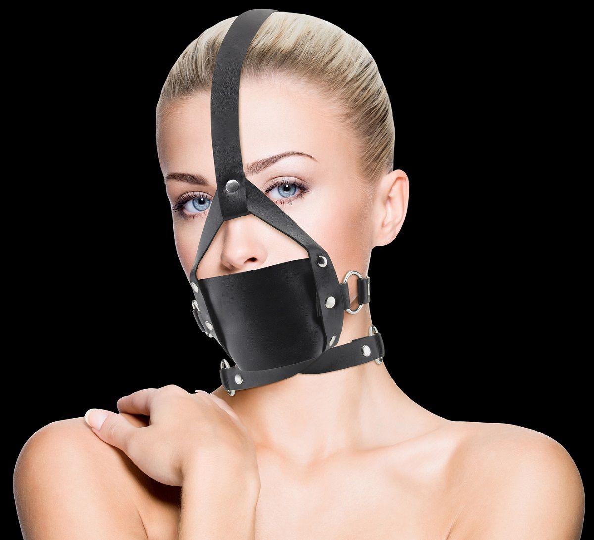Чёрный кожаный кляп Leather Mouth Gag OU148BLK от Shots Media BV