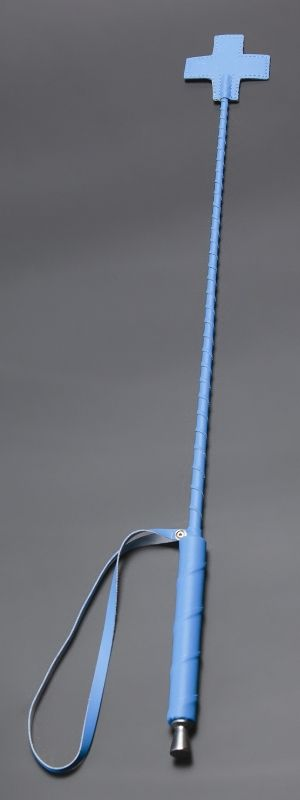 Голубой стек с наконечником-крестом из искусственной кожи - 70 см.