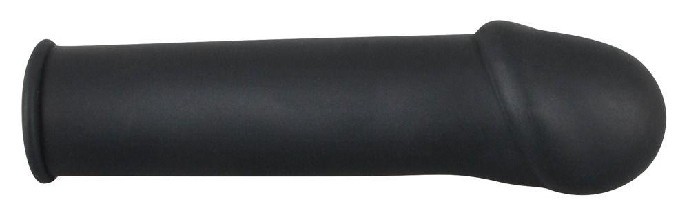 Чёрная удлиняющая насадка для пениса Rebel - 16 см.