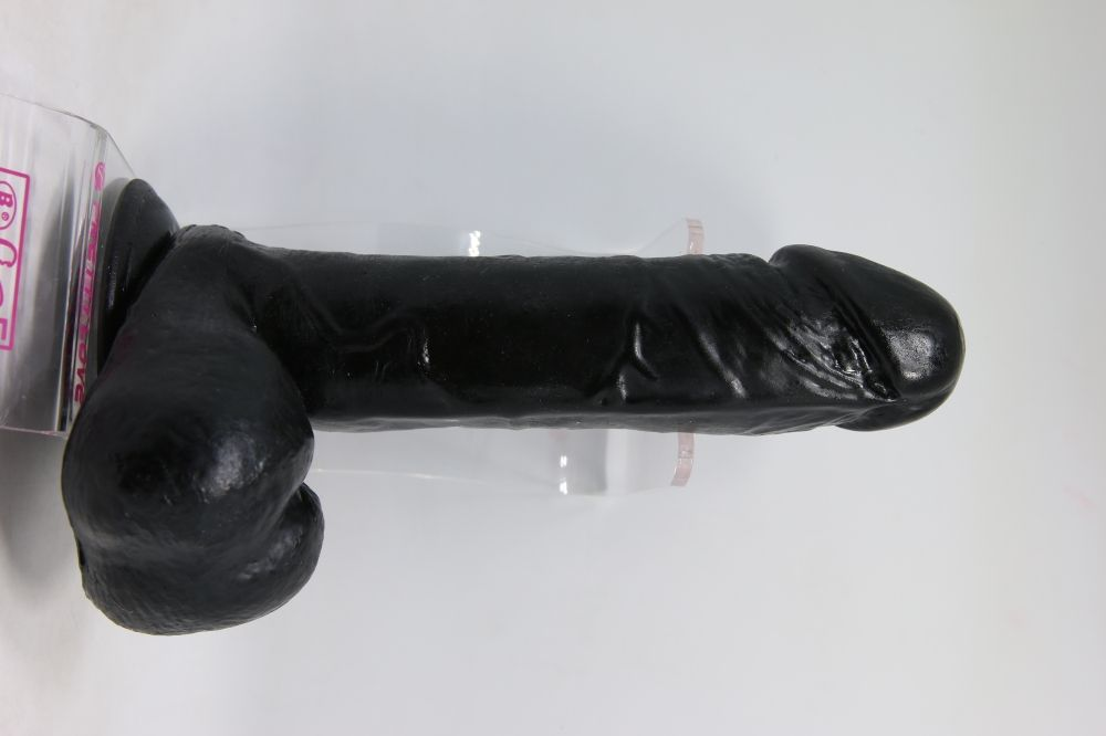 Черный фаллоимитатор с присоской - 20 см.