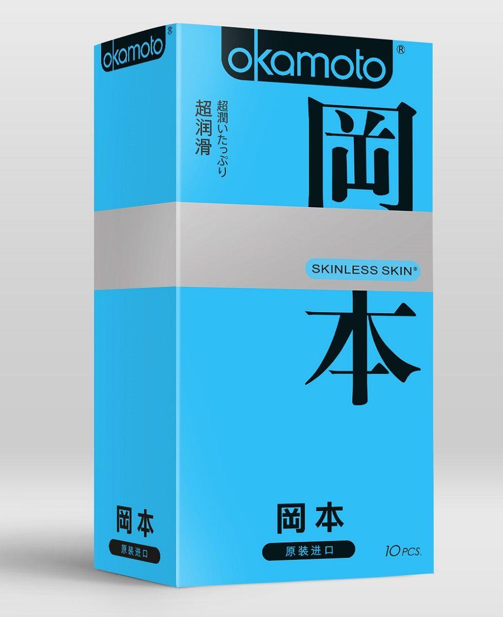 Презервативы в обильной смазке OKAMOTO Skinless Skin Super lubricative - 10 шт