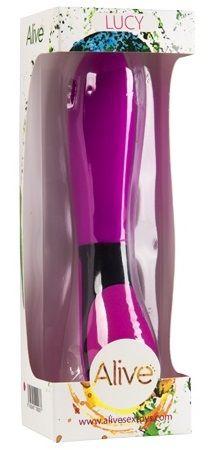 Ярко-розовый массажёр Lucy с усилением вибраций на каждом режиме - 20 см.