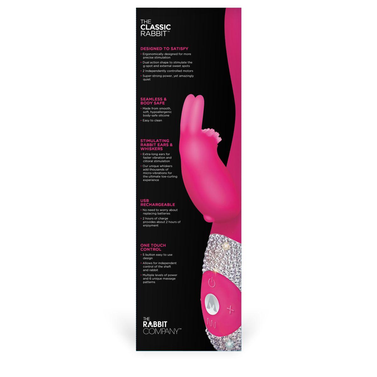 Ярко-розовый вибромассажёр с клиторальным отростком и отделанной стразами рукоятью The Classic Rabbit - 22 см.