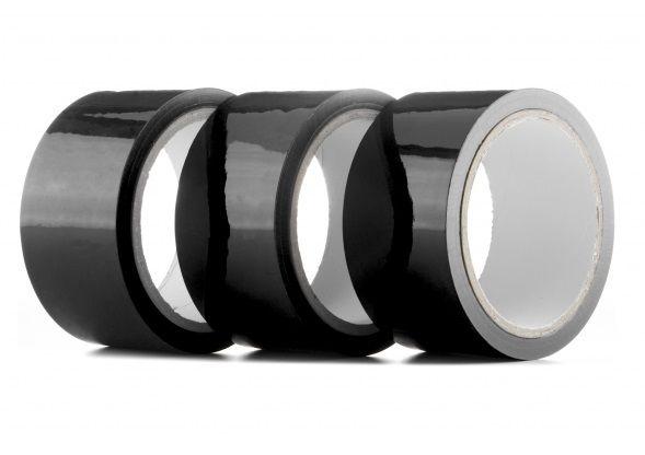 Набор из 3 мотков чёрных лент Bondage Tape длиной 20 метров каждый OUBT001PACKBLK от Shots Media BV