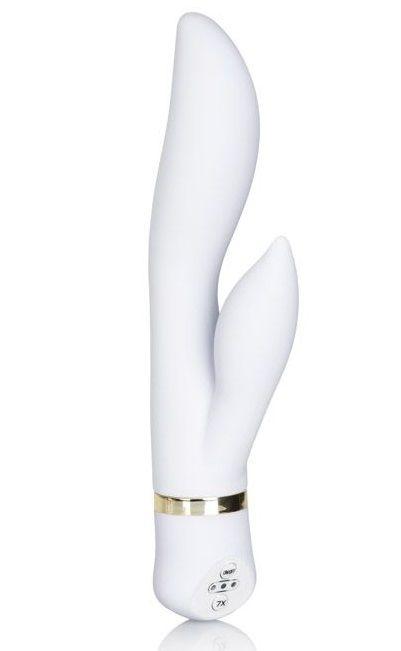 Белый вибромассажер Spellbound Wave - 19 см.