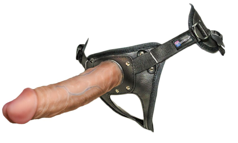 Насадка-фаллоимитатор на кожаных трусиках Harness Ultra Realistic 8  - 20 см.