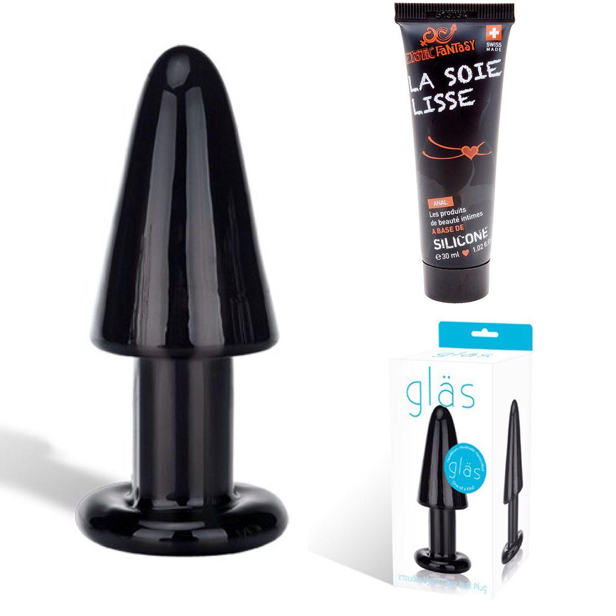 Smart Set №16: чёрный стеклянный анальный плаг и силиконовый лубрикант