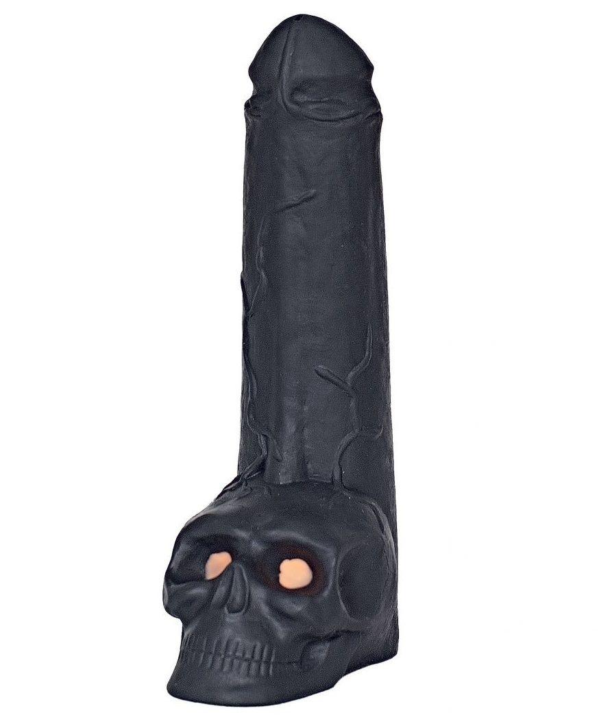 Фаллоимитатор  Призрачный всадник  с мошонкой в виде черепа - 28,5 см.